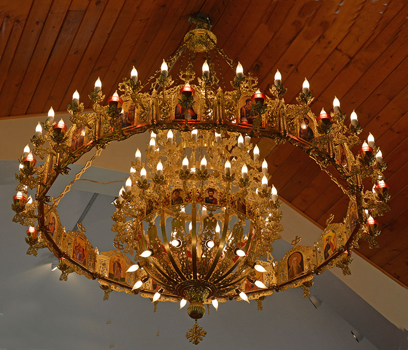A custom designed built chandelier at the MASOC-NA Head Quarters in Whippany, NJ. Photo by Dr. Jacob Mathew